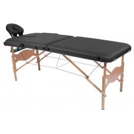 Table de massage pliante Kinbasic Noir en bois avec appui-tête