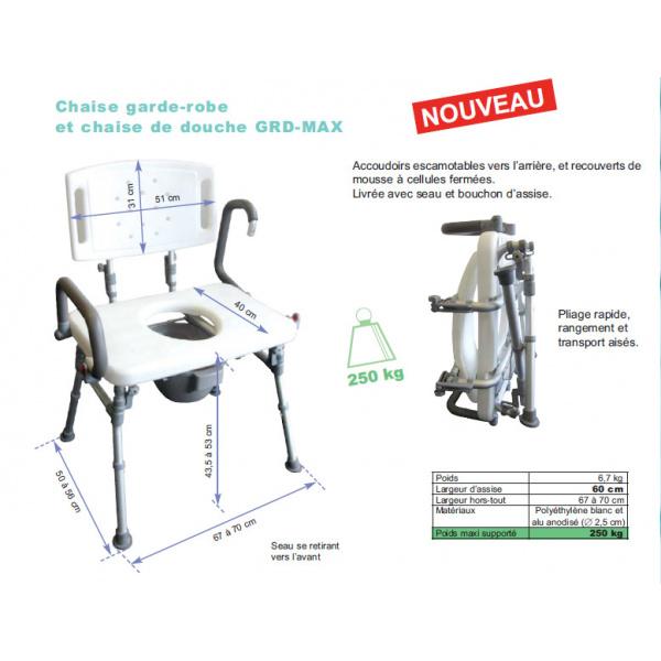 Douche Chaise Grd Médical Pliante Toilette Matériel Max ULqSGMzpV