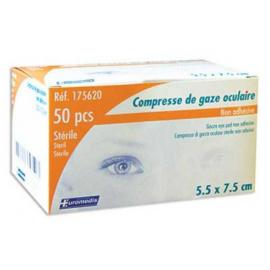Compresses de gaze oculaires stériles 7.5 x 5.5 cm, sachet individuel (Boite de 50)