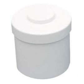 Boite à coton en mélamine blanc avec poussoir 10 x 9.8 cm