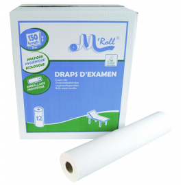 Draps d'examen ouate lisse M'Roll Ecolabel (6, 9 ou 12 rouleaux)